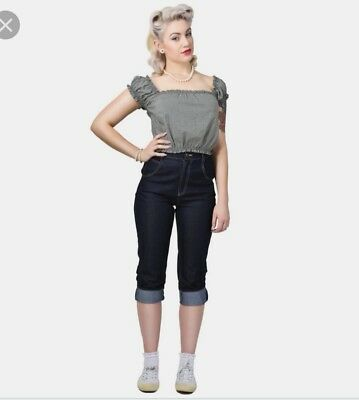 Collectif Monroe cropped High Waisted Straight 50s Rockabilly Jeans Vintage