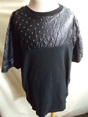 Switch T Shirt Black with Leather Feel Upper & Zippered Vents Teen Medium VGC