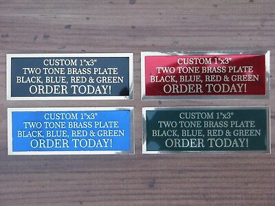 """Engraved Plate 1""""x3"""" Custom TWO TONE Brass Trophy Plate Name Tag"""