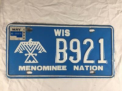 Vintage 1994 Menominee Nation Indian Reservation License Plate Wisconsin