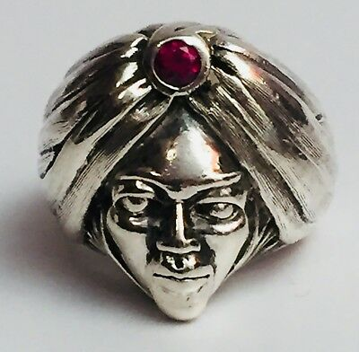 Rare Vintage Sterling Silver Arab Hindu Indian Swami Ring Ruby Stone Size: 9.5