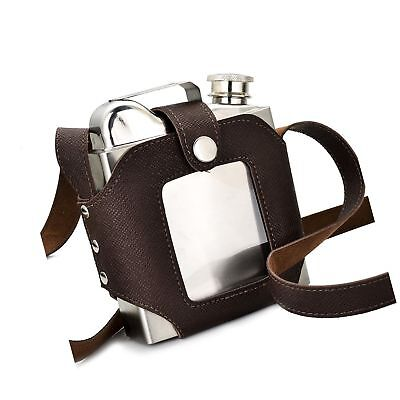 GENNISSY Leather Sheath Large Capacity Stainless Steel Hip Flask 18OZ