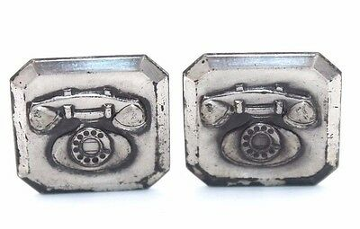 Vtg 1950s Modernist OLD FASHIONED TELEPHONE Sterling Silver COLLECTORS Cufflinks