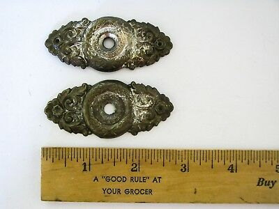 Vintage Antique Back Face Plate Knob Escutcheon Ornate Victorian Style Metal