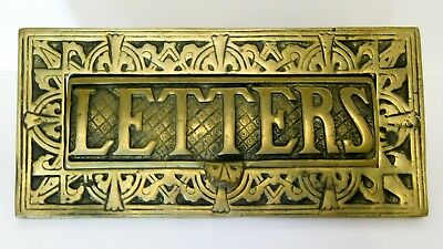 Vintage Cast Brass Mail Slot Letter Embossed Art Deco Ornate Back Mount Antique