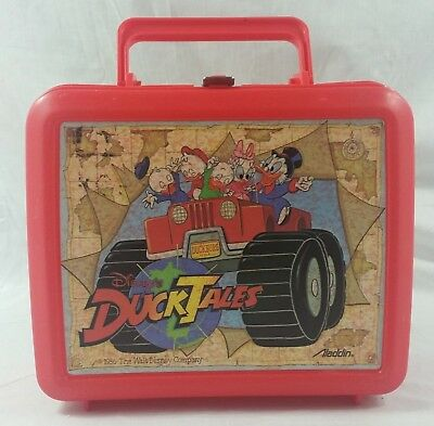 Duck Tales Lunch Box Vintage Disney Red Plastic Aladdin 1986 80s Scrooge Webby