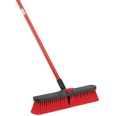 "LIBMAN Push Broom with Resin Block - 18"" - Medium-Duty Bristles, Lot of 4"