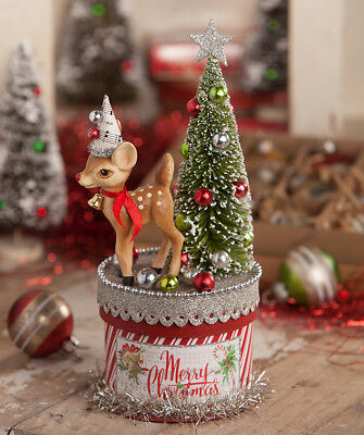 Bethany Lowe Designs Christmas Retro Deer On Box New 2018
