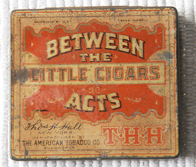 "Old 3 3/8"" x 3""  ""Between the Acts Little Cigars"" Tin, American Tobacco Co."