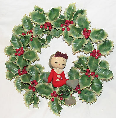 Vintage Ca. 1930's Plastic Holly Berry Wreath with Felt Adorable Christmas Elf