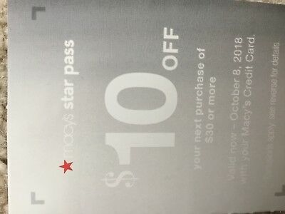 10$ off $30 Macy's Star Pass -valid till November28,2018 with Macy's Credit Card