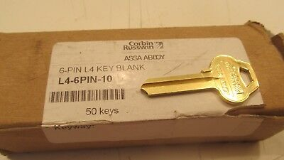 Lot of 50 Corbin Russwin Assa Abloy 6 Pin Key Blanks L4 Keyway (L3)