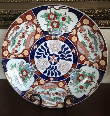 """Large Japanese Porcelain Gold Imari Handpainted Red Blue Charger Plate 18"""""""