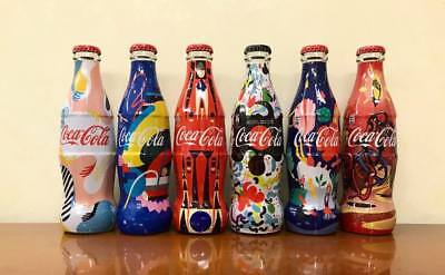 COCA COLA BOTTLES - set 6 BOTTIGLIE SERBIA FASHION DESIGNER 2 - FULL 250ml