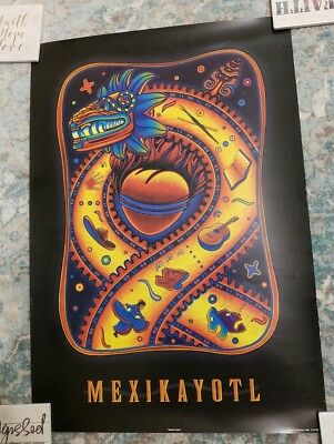 "MEXIKAYOTL (1999) Simon Silva Signed Poster ""Mexican Heart"" 18 x 26 in."