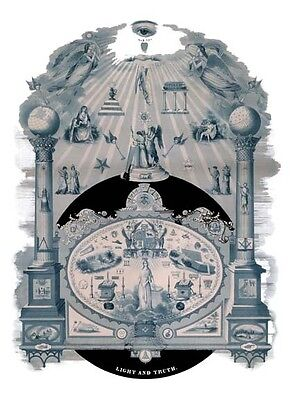 LIGHT AND TRUTH Masonic Chart Art ring Fellowcraft Master Mason Print Poster