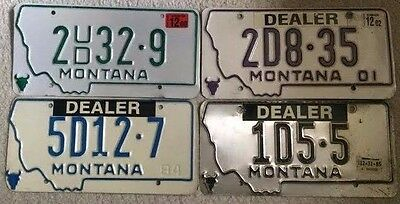 Montana lot of 4 various Dealer license plates 1984,1985,2000,2002