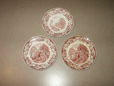 "Vtg ROYAL TUDOR WARE ""Olde England"" BARKER BROS. Red Saucer & (2) Dessert Dishes"
