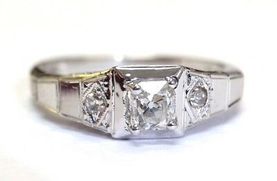 Art Deco .28CT Square Old Cut Diamond 18K White Gold Engagement Ring Size 7.5