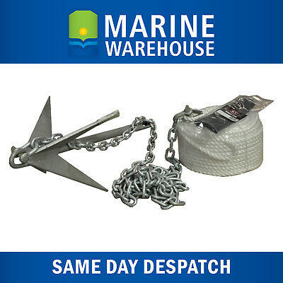 REEF/RUBBLE Mooloolaba Pick 9LB, Galvanised Chain 2M, & Anchor Hank 50M KIT 6432