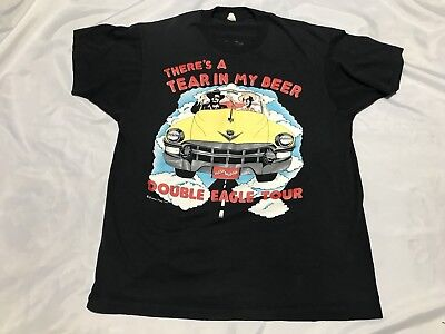 Vintage Hank Williams Jr T Shirt Double Eagle Tour Tear In My Beer 1989