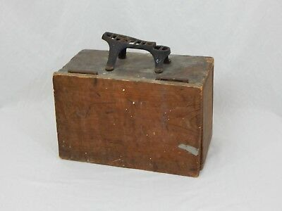 Antique Primitive Homemade Shoe Shine box w/Cast Iron Star Footrest