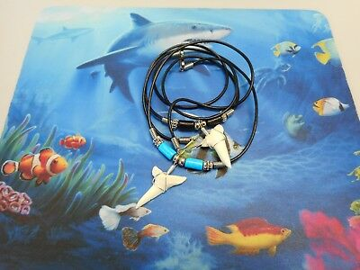 """Lot of 2 Sterling Wrapped 1 1/4"""" Mako Shark Tooth Necklace Sharks Teeth"""