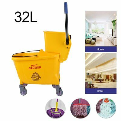 Rolling Mini Side Press Mop Bucket with Wringer 33qt / 8.45 Gallons/32L Yellow B