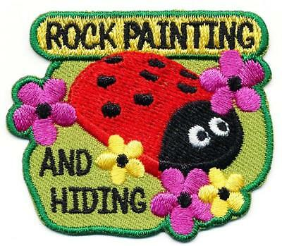 Girl Boy Cub ROCK PAINTING AND HIDING Fun Patches Crest Badges SCOUT GUIDE class