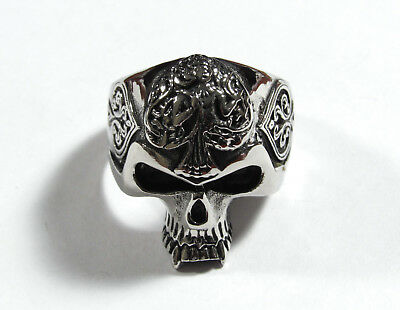 Men's Vintage Ring Gothic Punk Skull & Hearts Biker Rock Band Jewelry Size 12