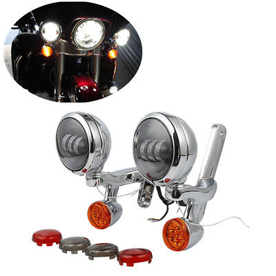 FOR Harley Street Glide Auxiliary Fog Passing Light w/ Brackets & Turn Signals