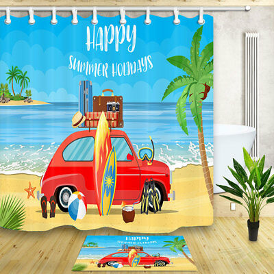 New Travel van with surfboard Shower Curtain Bathroom Fabric 12hooks 71*71inches