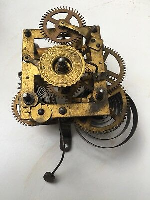 Antique American 1880's Clock Movement For Parts Or Restoration