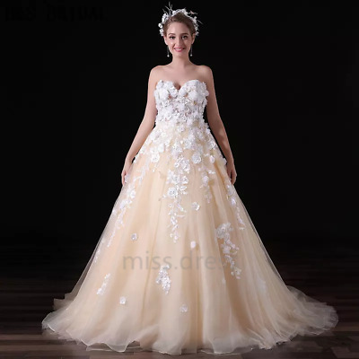 Gorgeous Ball Gown Wedding Dresses Sweetheart Lace 3D Flowers Bridal Gown Custom