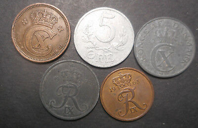 Denmark 1916 , 1943 , 1941 1959 1968 5 Ore inc Better all different  Coins (5)