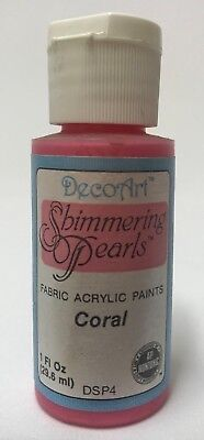 So Soft Shimmering Pearls Fabric Paint Colour Coral 1oz Bottle DecoArt