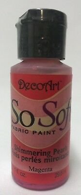 So Soft Shimmering Pearls Fabric Paint Colour Magenta 1oz Bottle DecoArt
