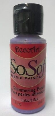 So Soft Shimmering Pearls Fabric Paint Colour Lilac 1oz Bottle DecoArt