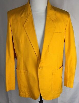 Vtg Progressions 100% Cotton Mustard Yellow Men's M Unstructured Blazer Jacket