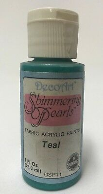 So Soft Shimmering Pearls Fabric Paint Colour Teal 1oz Bottle DecoArt