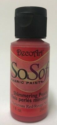 So Soft Shimmering Pearls Fabric Paint Colour Christmas Red 1oz Bottle DecoArt