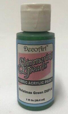 So Soft Shimmering Pearls Fabric Paint Col Christmas Green 1oz Bottle DecoArt