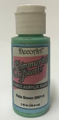 So Soft Shimmering Pearls Fabric Paint Col Pale Green 1oz Bottle DecoArt