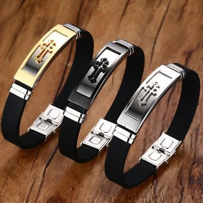 Adjustable Cross Men Bracelet Silicone Bangle Christ Prayer Stainless Steel Gift