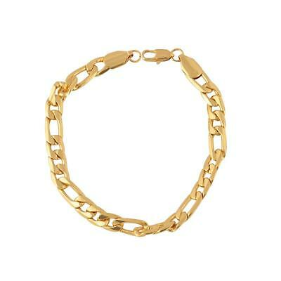 18K Yellow Gold Plated Women Men Bracelet Curb Chain Link Bangle Jewelry
