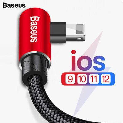 BASEUS 90 Degree L Type Fast Charging USB Data Cable For iphone XS MAX XR X 8 7