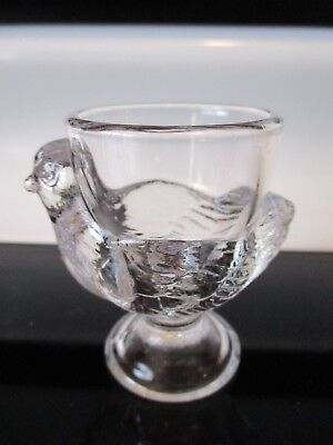 Vintage Chicken Hen Arcopal France Glass Egg Cup