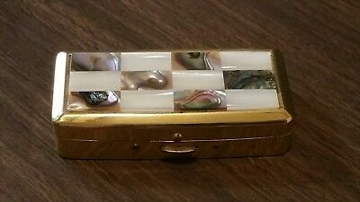 Vintage CLOVER Wind-up Musical Vanity Box/ Compact MIRROR - MOP & Brass