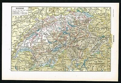 1922 SWITZERLAND AND Alps Mountains Original Vintage Map by ...