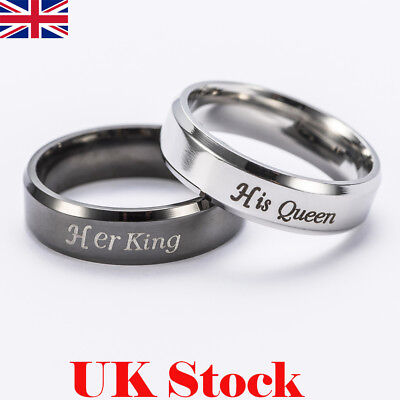 Couple Stainless Steel Black Silver King Queen Ring Men Women Wedding Band Rings